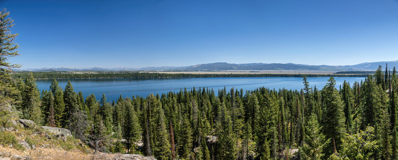 Panorama across Jenny Lake from the ascent to Inspiration Point.