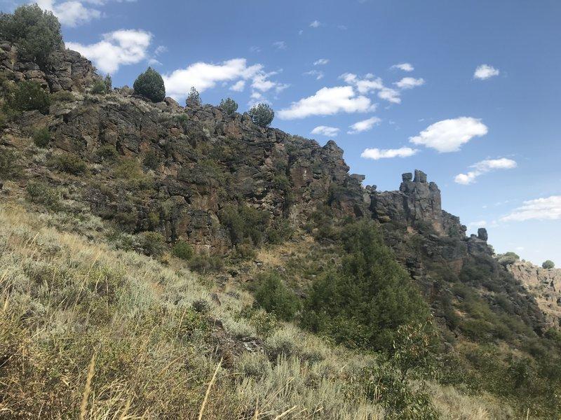 Rhyolite cliffs above Trapper Creek.