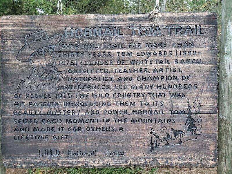 Hobnail Tom trailhead sign.