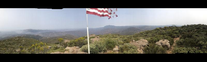 At Peak near american flag pano photo