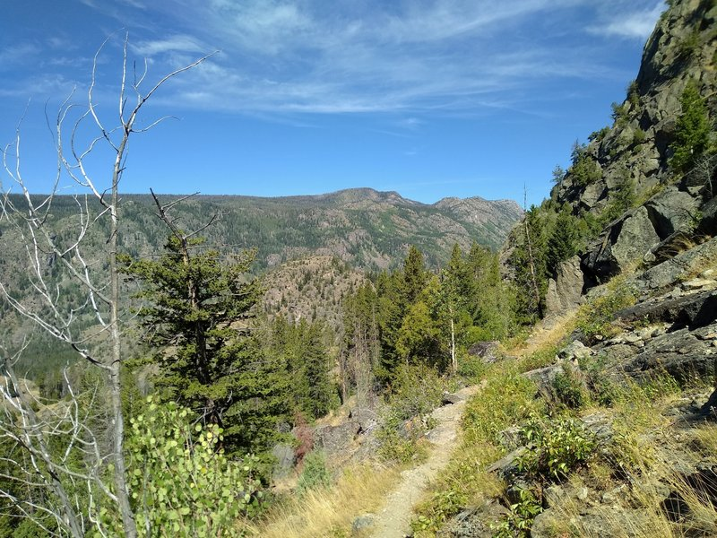 Long Lake Trail descends on the steep eastern side of Pine Creek Canyon, with views of the western side of Pine Creek Canyon in the distance across Pine Creek's valley.