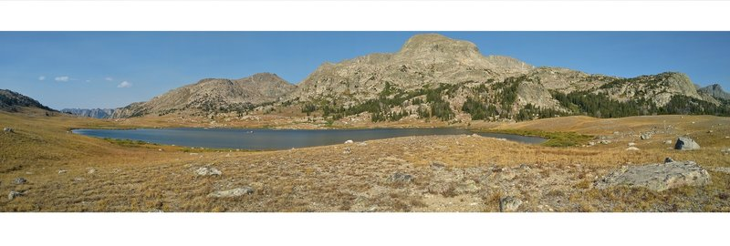 Summit Lake. Seen from its west side, 135 degree panorama. North (left) to southeast (right). The Green River drainage drops off to the north (left). Mt. Oeneis, 12,232 ft., to the east (center right).