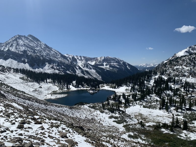 Copper Lake from the traverse headed to the pass.