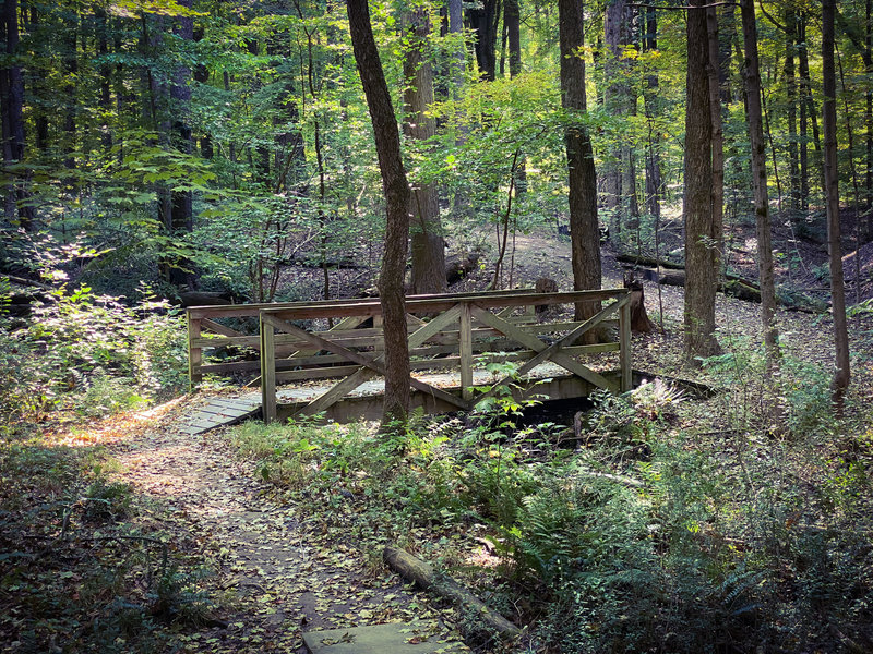 Bridge over a creek bed along Russell Uplands' Hickory Trace.