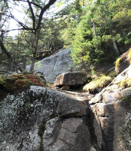 1 of the 3 larger rocky slab areas that will require some rock scrambling.