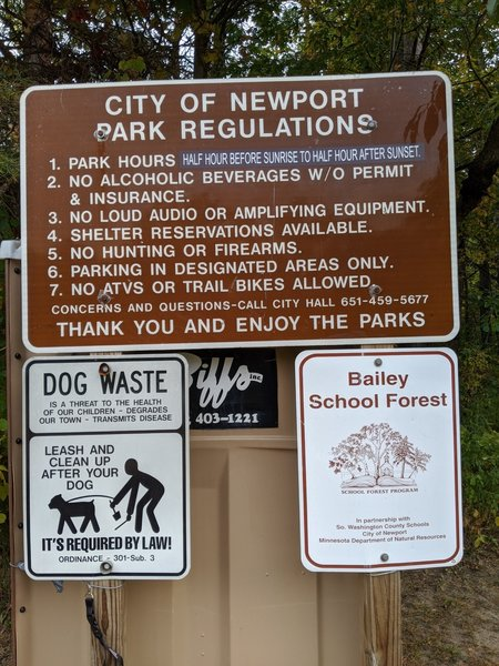Bailey School Forest Rules