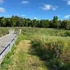 There are several wooden bridges along the trail where Otter Creek passes. When the photo was taken the creek was dry.