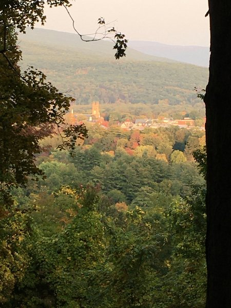 The domes and steeples of Williams College campus, seen from the Smith Trail overlook in September.