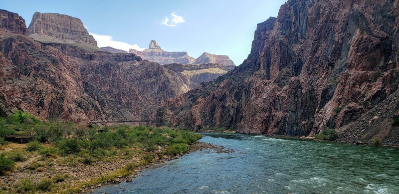 View of a September Colorado River from the Sliver Bridge back over to the River Trail - You can see the black suspension bridge to the east