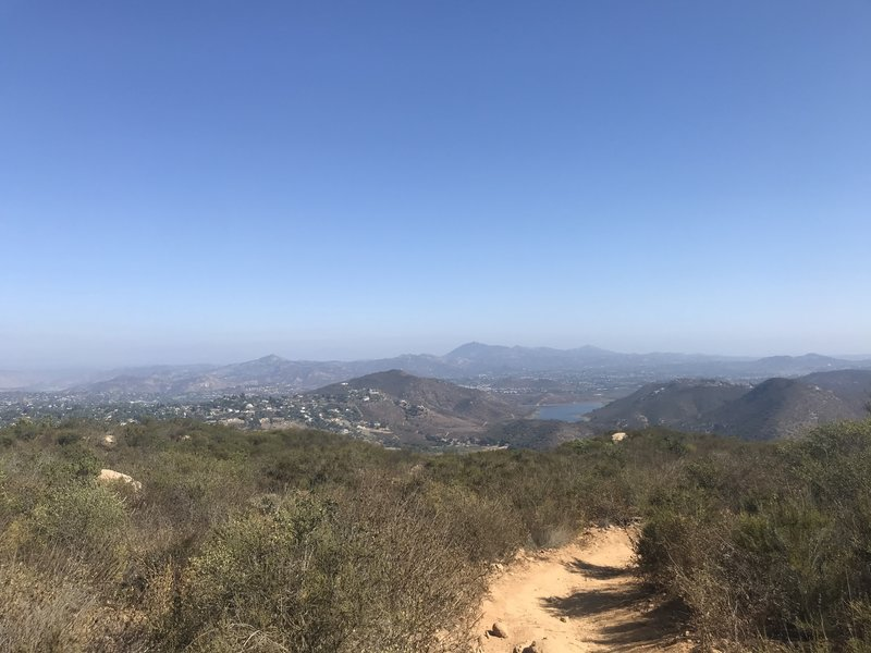 Lake Hodges Overlook Trail, first view of lake