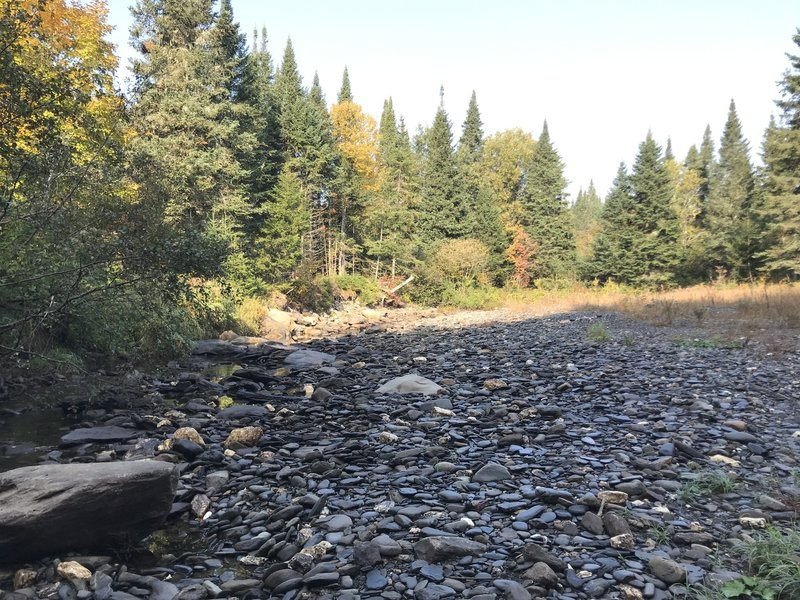 The rocky bed of Indian Stream.