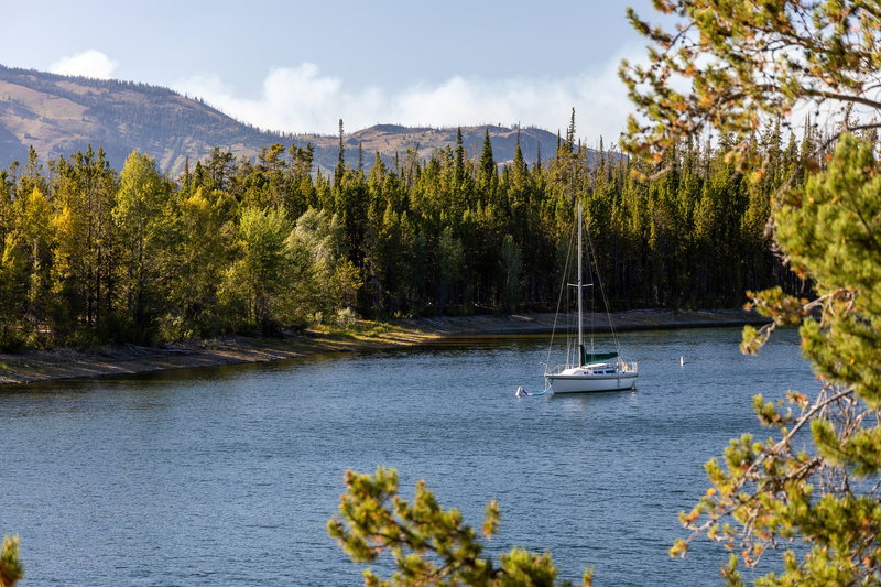 Sailing boat anchored in Colter Bay.