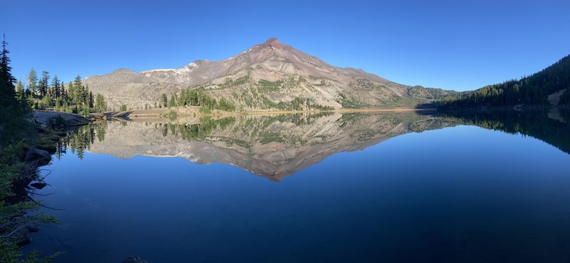 South Sister reflected in the Largest of the Green Lakes.