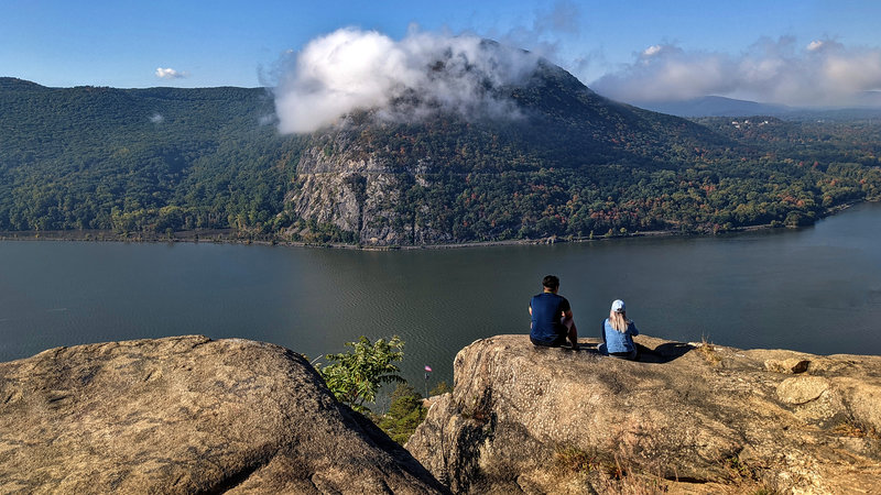 One of the numerous overlooks of Breakneck Ridge. This spot overlooks the Hudson River with Storm King Mountain in the distance.
