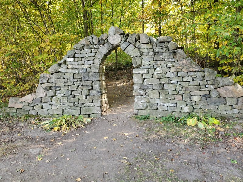 Remains of a historic stone arch.
