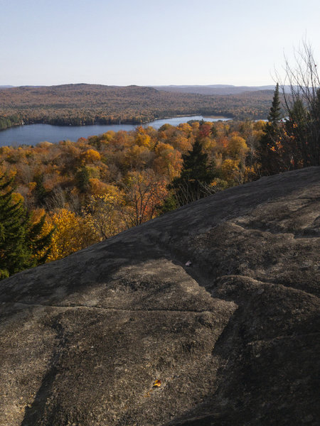 View toward Second Lake from one of the exposed places on the Rondaxe Fire Tower Trail