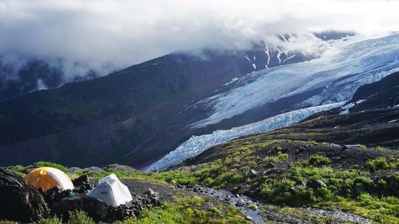 Tents over the Coleman Glacier