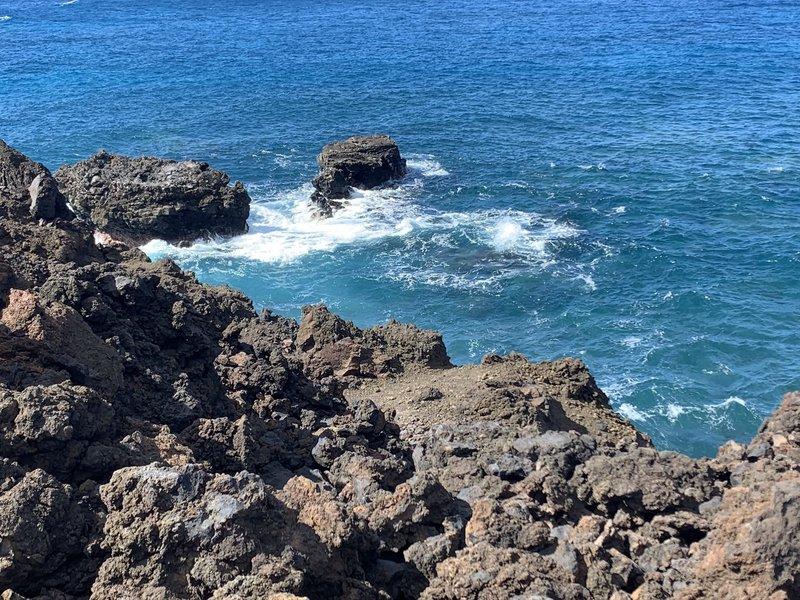 Crashing waves near lookout.
