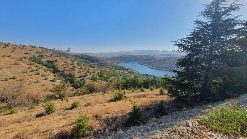 View to Lake Eymir on Nefes Nefese İniş Rotası (trail).