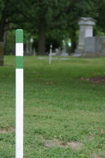 The trail is marked by white stakes with green bands.