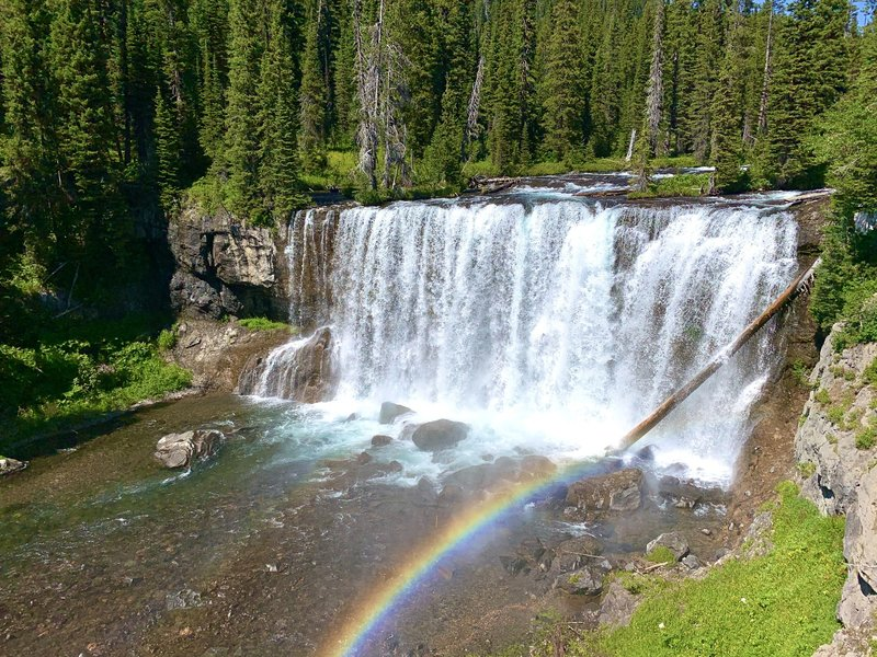 The plentiful mist thrown up by Iris Falls make beautiful rainbows a frequent part of the view. Flower and wild onions grow on the canyon rim just off the trail.