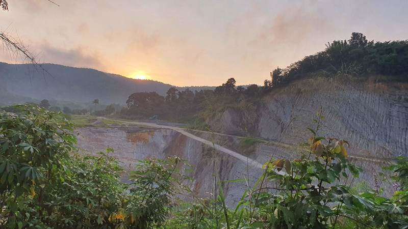 Sunrise over the stone quarry