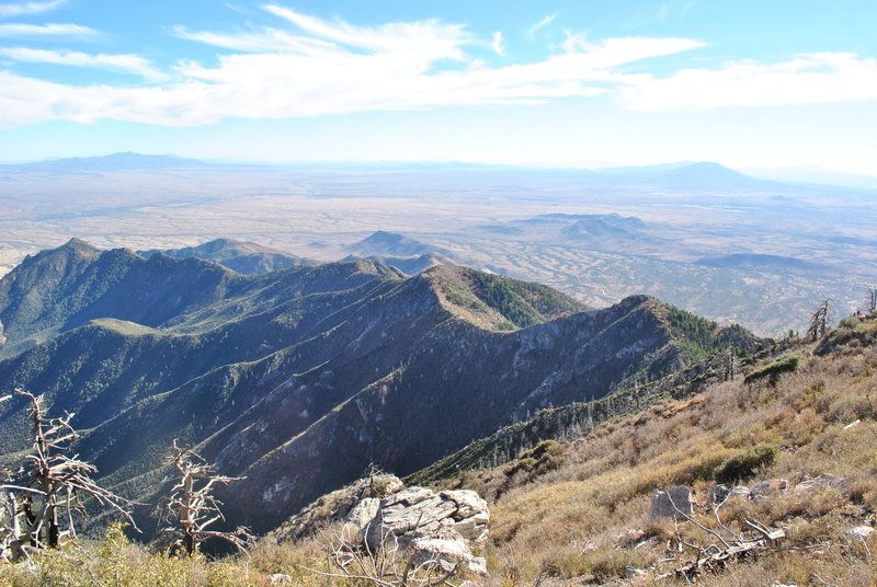 View south to Mexico from peak.