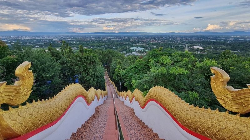View from the top of Wat Prathat Doi Kham stairs.