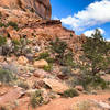 Sandy trails and rocky terrain.