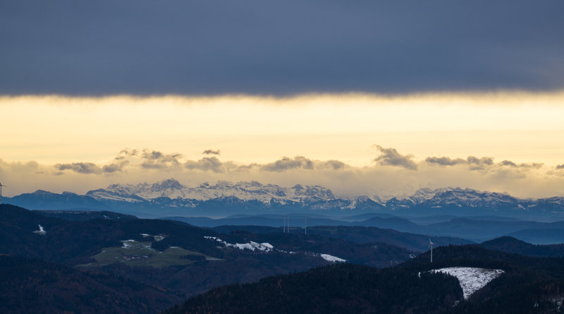 View of Swiss Alps from the top.
