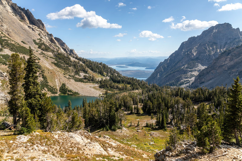 Holly Lake and Jackson Lake from the ascent to Paintbrush Divide