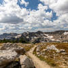 Walking across Paintbrush Divide towards North Fork Cascade Canyon