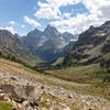 Mount Owen, Grand Teton, and Middle Teton at the other end of Cascade Canyon