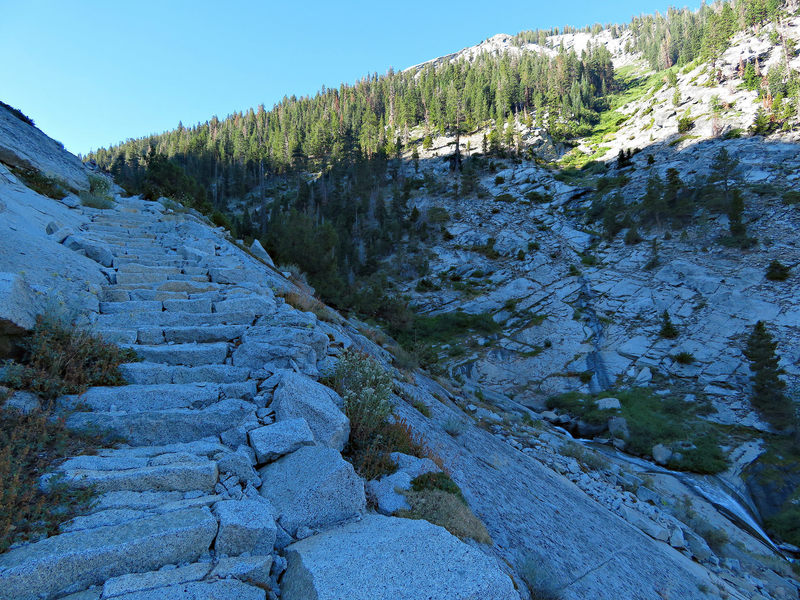 A set of rock steps on the Avalanche Pass Trail.