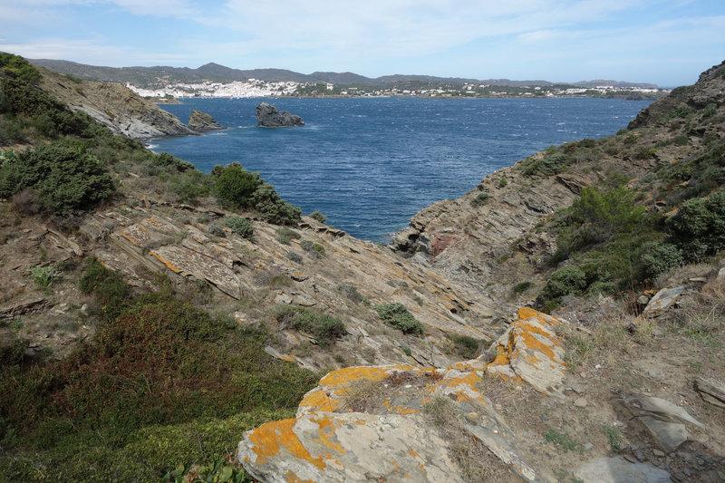 View of Cadqués midway between Sa Cebolla near Far de Cala Nans (Cala Nans lighthouse)