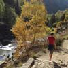 Autumn hiker near Gradas de Soaso (Soaso cascades)