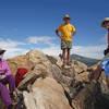 Hikers keeping six feet apart on Oakzanita peak during the time of coronavirus