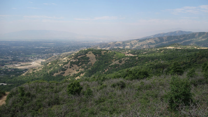 View southwest from First Hamongog Trail in a summer of western wildfires