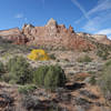 Panoramic view west from the northmost point of the Wedding Canyon trail with hint of autumn