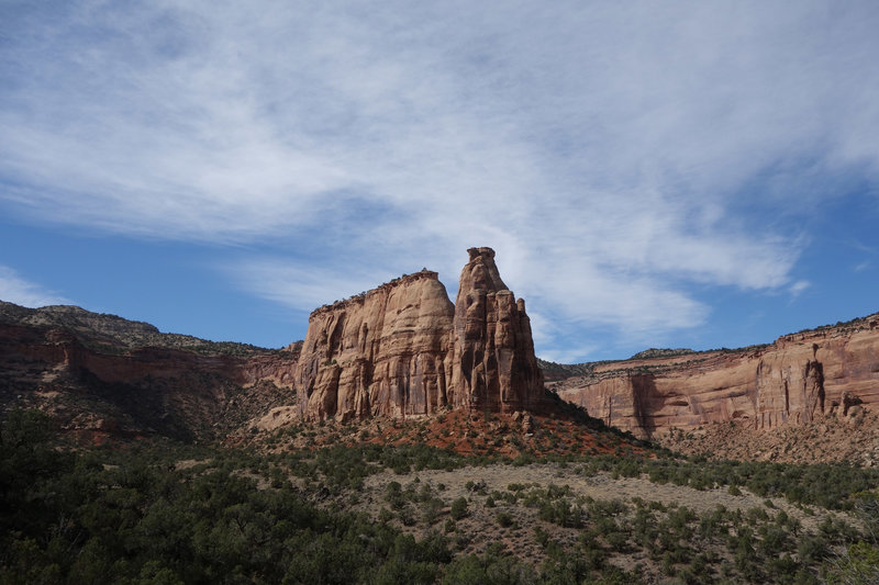 Pipe Organ rock formation at Colorado NM with the Rimrock Road in the background