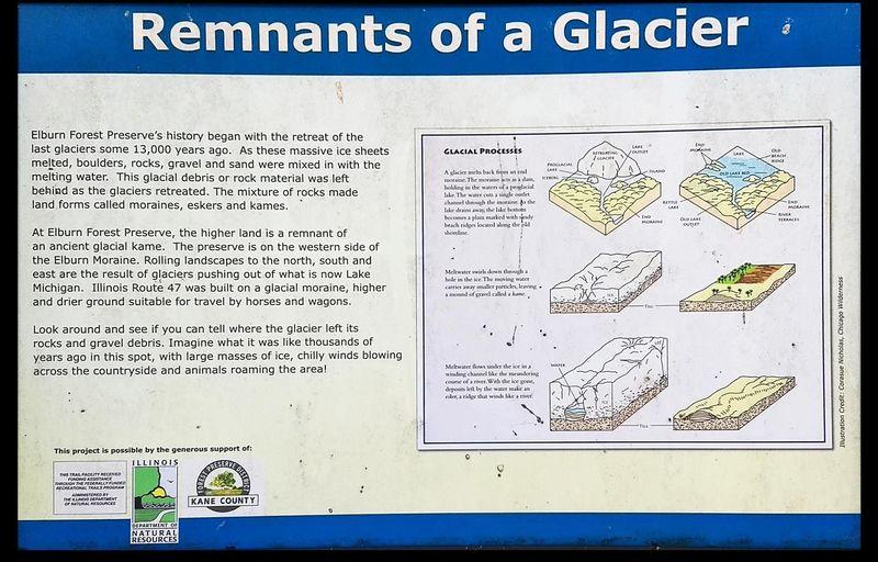Interpretive sign describing views of glacier mounds in grass prarie.