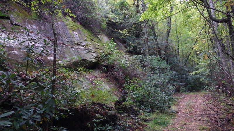 Rocky outcrop along the trail.