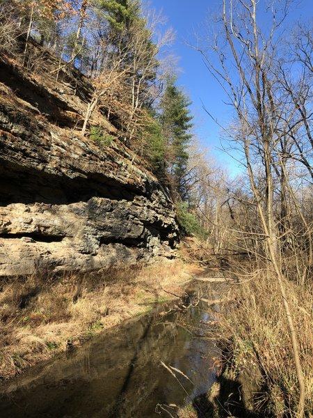 Rock face along Bear Creek