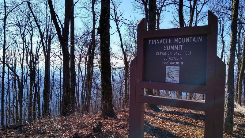 Sign at the summit of Pinnacle Mountain.