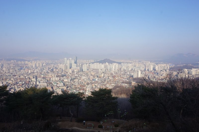 Greater Seoul from half way up Mangu Cemetery Park.