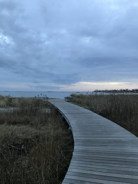 The boardwalk at the start of the New England Trail.