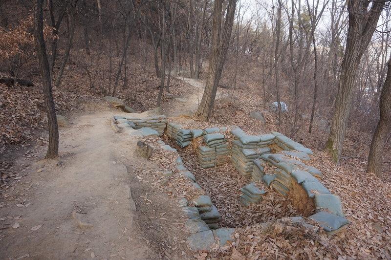 Korean war trenches  (foxholes) Seoul Trail section 4 towards Sadang, taken 7th Dec 2020