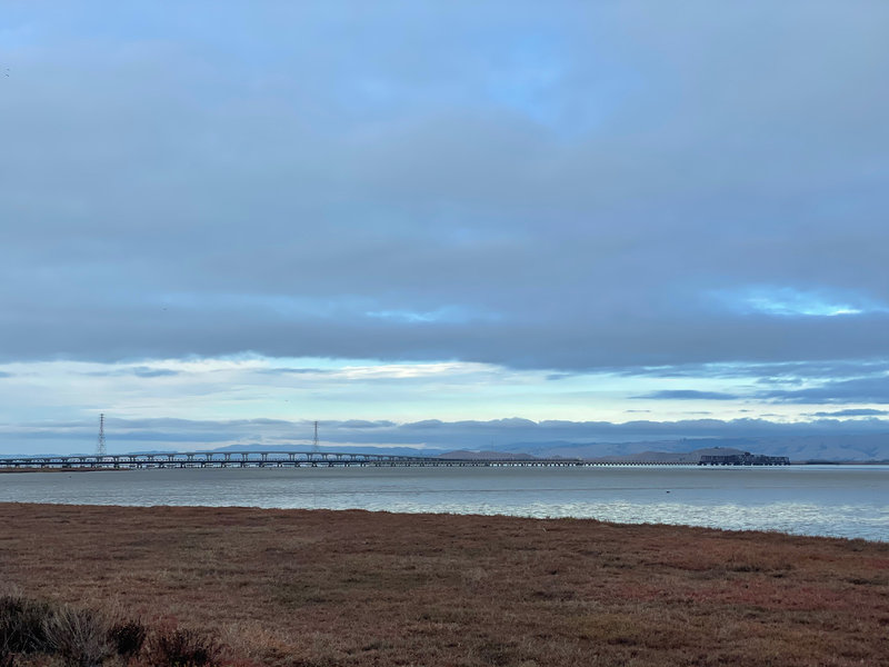View of the Dumbarton Bridge from the South Observation Platform in Ravenswood Open Space Preserve.