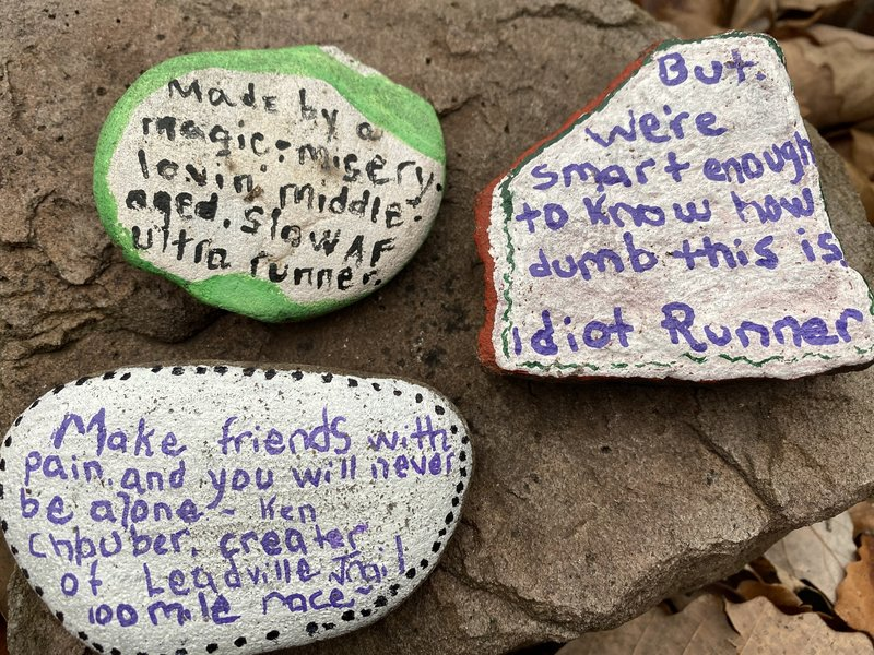 Some wonderful words of advice along Jeep Trail Connector from fellow trail runners :-)