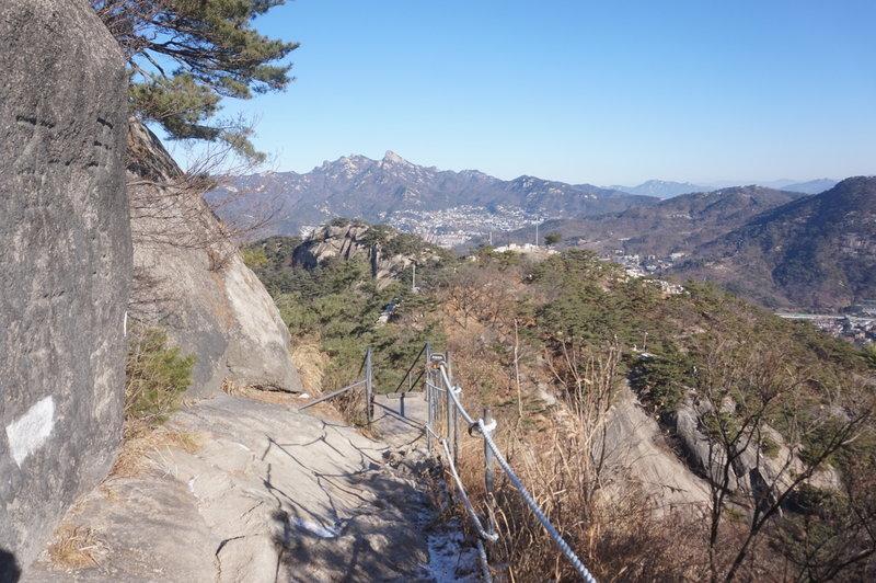 Top of Inwangsan Mountain with Bugaksan Mountain in the background